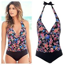 Kaleidoscope Size 18 Halterneck Blouson SWIMSUIT Holiday Summer Tropical Print