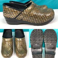 Womens SANITA Gold & Black Snake-Print Leather Clogs Shoes SIZE 37 US 6.5-7