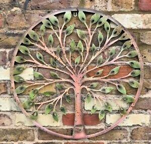 Tree of Life Wall Art Metal Garden Ornament Gift Green Rusty Effect Heart Fence