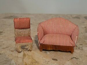 MINIATURE ANTIQUE/ VINTAGE 3/4? Scale SOFA AND CHAIR