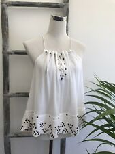Witchery White Cotton Muslin Eyelet Swing Top - Size 12