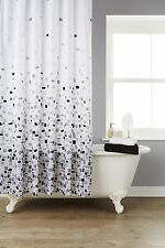 Waterline Vibrant Mosaic Grey Polyester Shower Curtain Including 12 Grey Hooks