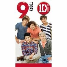 Age 9 One Direction Birthday Card + Badge NEW