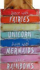Danse avec Fées Signe Plaque - Fairy Licorne Sirène Arc-En-Ciel Décor Maison