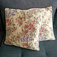 Vintage Lot of 2 Printed Mcm Decorative Pillows Cream with Flower Leaf Soft