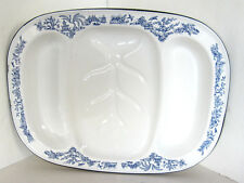 "Vintage White Enamelware MEAT/SERVING TRAY Blue Willow Design VGC 18"" x 14"""