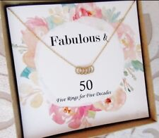 40th 50th 60th 70th 80th 90th 100th Birthday Necklace for Women 14k gold filled
