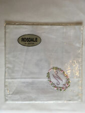 Monogrammed Handkerchief with purple letter N in floral wreath. new in packet