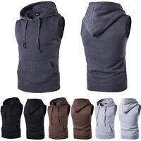 Men Sleeveless Hoodie Tank Tops Gym Sport Muscle Fitness Hooded Vest T-Shirt Tee