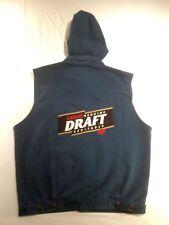 Vtg John Labatt Genuine Draft Beer Denim Vest Sleeveless Hoodie Men's XXL