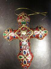CLOISONNE CROSS CHRISTMAS ORNAMENT-NEW
