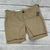 Old Navy Khaki Shorts sz 4 Rolled Cuff Bermuda Womens New NWT Tan