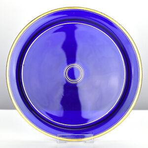 Antique Georgian Bristol Cobalt Blue Glass Platter Tray Bowl w Gilt Decoration