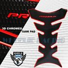 3D FUEL/GAS TANK PAD PROTECTOR DECAL PRO GRIP PERFORATED GLOSS BLACK+CHROME RED