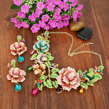 Rose Flower Jewelry Set Women Party Multicolor Crystal Necklace Earrings Set