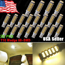 20 X T10 194 Camper Trailer 12V LED Lights 68 SMD Warm White W5W 168