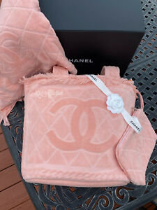 CHANEL Authentic 2020 CC Handbag Beach Bag Set Bag Pouch NWT RARE XL