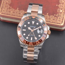 40mm Parnis Automatic Movement Men's Watch Rose Gold Bezel Stainless Steel Case