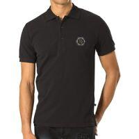 Philipp Plein Men's  Embodied Yellow Stars Polo T-shirt Jersey Black Size L