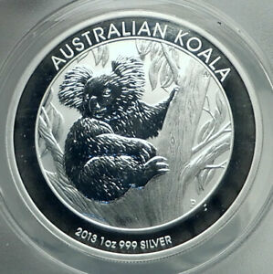 2013 AUSTRALIA UK Queen Elizabeth II KOALA Genuine Silver $ Coin ANACS MS i79223