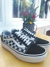 Black And White Old Skool Checkerboard Platform Vans Shoes Trainers Size 6
