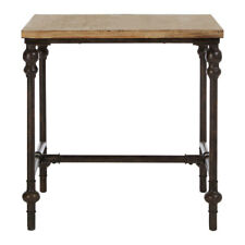 Premier Tribeca Side Table, Fir Wood & Black Metal, Distressed Finish, Rustic