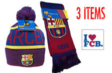 Barcelona Scarf Reversible and Beanie + Sticker New Season Messi 10 Cap HAT