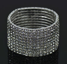 STUNNING 10 ROW RHINESTONE DIAMANTE STRETCHY CRYSTAL BRACELET UK
