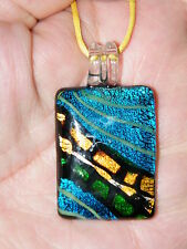 """RAINBOW Necklace LAMPWORK AWESOME Glass Colors! Rectangular Choker 17""""-19"""" NEW!"""