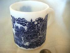 blue willow milk glass coffee mug/beautiful cobalt blue graphics