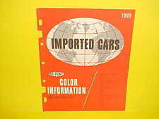 1957 1958 1959 1960 AUSTIN FIAT JAGUAR MGA PORSCHE TRIUMPH VW PAINT COLOR LIST
