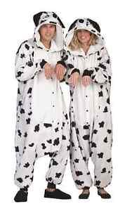 SPOT THE DALMATIAN DOG ADULT MEN COSTUME ZOO ANIMAL PAJAMAS JUMPSUIT WHITE BLACK