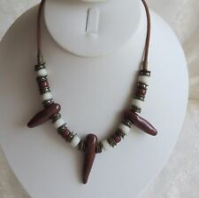 Stone Brass Bead Suede Strand Necklace Vintage African Tribal Red White Polished