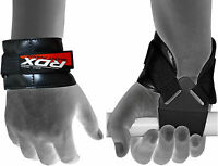 RDX Weight Lifting Reverse Hook Wrist Straps Hand Bar Grip Support Gym Wraps AU