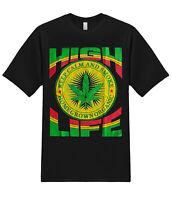 High Life Rastafari Marijuana 420 Pot Cannabis Stoner Weed Funny Graphic T-Shirt