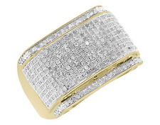 14k Yellow Gold Fn Mens Pave Clear Round Sim Diamond Fashion Pinky Ring 1.0 ct