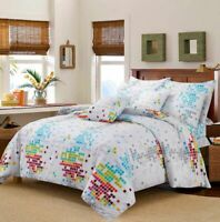 Luxury Print White Helen Teal Duvet Cover Set Bedding Sets Single Double King