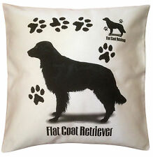 Flatcoated Retriever Paws Breed of Dog Cotton Cushion Cover - Perfect Gift