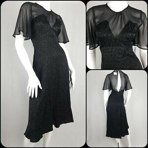 Bnwt Zara Dress Black Satin Leopard Print Flutter Sleeves Film Noir Size S/10-12