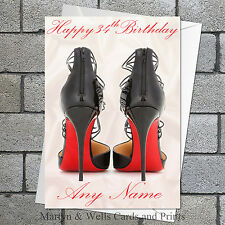 Christian Louboutin birthday card: Personalised. 5x7 inches, plus envelope.