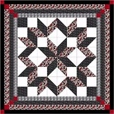 Quilt Kit Carpenter Wheel/ Red/Black/Gray Camo/Pre-cut Fabric/EXPEDITED/Lap