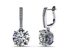 1ct Round Cut VVS1 D Diamond Classic Drop Earrings Women 9ct Solid White Gold