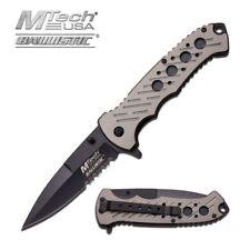 Spring-Assist Folding Pocket Knife Mtech Gray Black Serrated Stiletto Blade Tac