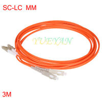 3 Meters SC to LC Fiber Optic Patch Cord Jumper Cable, MM, Duplex 50/125 2.0mm