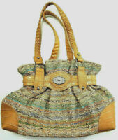 Bueno Purse Tropical Woven Straw Alligator Faux Leather Summer Handbag Tote
