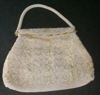Hand Beaded Vintage Purse Hong Kong Evening Bag White Satin Lining Handbag