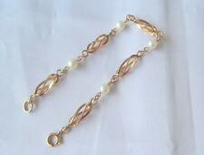 Vintage Art Deco Cultured Pearl Filled 12K Yellow Gold Bracelet