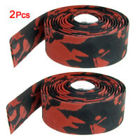 2 Red Black Bike Road Race Bicycle Handlebar Tape Wrap + Bar Plugs for BIKE C7X3