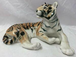 Superb Vintage Large USSR Lomonosov Porcelain Tiger Length 29cm