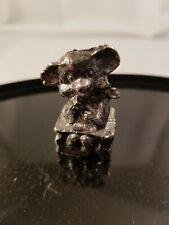 "Metal Bear on Block - Detailed Silver Tone Figurine 1.5"" tall"